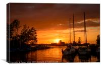 sunset in the harbor of de veenhoop in holland, Canvas Print