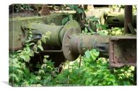 iron old rusted train buffer, Canvas Print