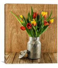 red and yellow tulips on wood, Canvas Print