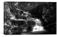Lumsdale Valley Waterfall b/w, Canvas Print