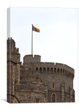 Royal Standard flies above Windsor Castle, Canvas Print
