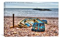 Abandoned boat and Lobster Pot, Canvas Print