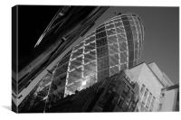 The Gherkin black and white, Canvas Print