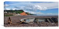 Stranded Boat on Sidmouth Beach., Canvas Print