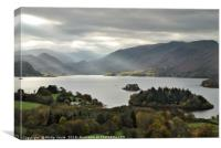 Stormy Skies, Derwent Water and Cumbrian Mountains, Canvas Print