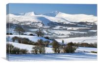 Pen Y Fan and Cribyn, Brecon Beacons in winter 3., Canvas Print
