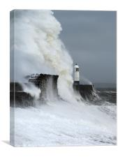 Storm Freya and Porthcawl Lighthouse., Canvas Print