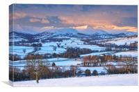 The Brecon Beacons at daybreak in winter., Canvas Print