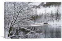 Winter at Cwmtillery Lakes., Canvas Print