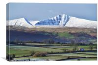 Pen y Fan and Cribyn covered in a light snowfall., Canvas Print