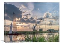 Sailing at Sunset River Thurne, Canvas Print
