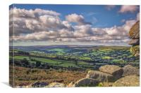 Widecombe valley from Bonehill Rocks. , Canvas Print