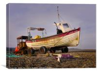 Lobster Boat and Tractor Weybourne, Canvas Print