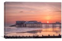 The Sun Rises above Cromer Pier, Canvas Print