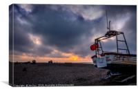 Sunset on the Shingle Beach, Canvas Print