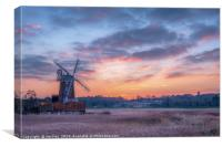 Cley Windmill at Sunset, Canvas Print