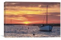 Sun setting over Burnham Overy, Canvas Print