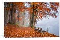 Misty lake shore and autumn woods, Canvas Print