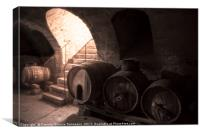 Old wine cellar with wooden barrels and stone stai, Canvas Print