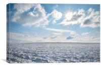 Endless field of snow and sunny sky, Canvas Print