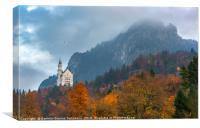 Autumn colored forest in Bavarian Alps, Canvas Print