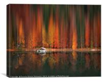 Motion blur autumn forest and water reflection, Canvas Print