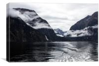 Milford Sound, New Zealand on a cloudy day, Canvas Print