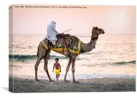 Boy stares in Amazement at traditional Arabic man , Canvas Print