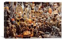 African wood carvings, Canvas Print