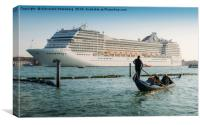 Venetian Gondola and Cruise Ship, Canvas Print