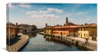 Gaggiano on the Naviglio Grande canal, Italy, Canvas Print