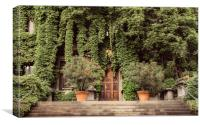 Foliage covered building, Canvas Print