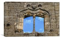 Manueline-style window frame at Belmonte Castle, P, Canvas Print