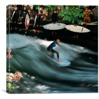 Surfer on the Eisbach at English Gardens, Munich, Canvas Print