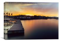 Idyllic sunset at marina in Cascais, Portugal, Canvas Print