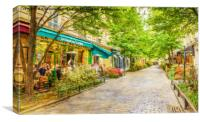 Paris, France in the spring watercolour style oil-, Canvas Print