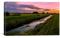 Sunset on the Fens, Canvas Print