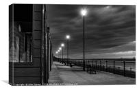 Beach Huts at sunset in Black and White, Canvas Print