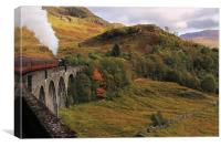 Steam train on Glenfinnan Viaduct Scotland, Canvas Print