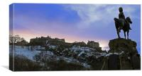 Edinburgh Castle and Scots Grey memorial, Canvas Print