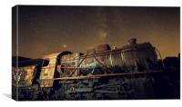 Old locomotive with  and milky way, Canvas Print