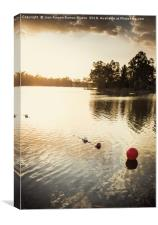Red buoy in the golden waters by the sunset sun, Canvas Print