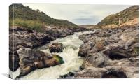 Rapids of the river with rock covered with moss, Canvas Print