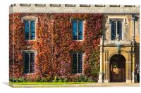 Trinity College Great Court building with ivy, Canvas Print