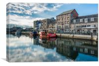 Fishing boats moored at Sutton harbour, Canvas Print