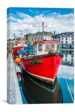Red Fishing Boat in Plymouth, Canvas Print