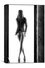 Woman standing in doorway, Canvas Print