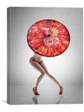 Lady with red shoes and parasol, Canvas Print