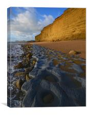 Golden cliff reflections, Canvas Print