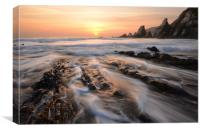 Foaming Surf at Westcombe Beach, Canvas Print
